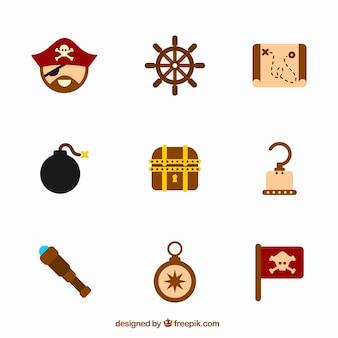 Verzameling van negen piratenelementen