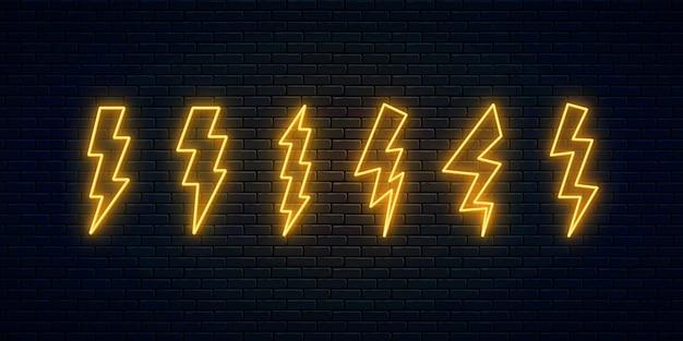 Verzameling van neon bliksemschicht