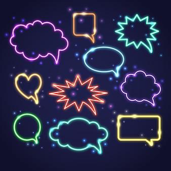 Verzameling van neon-tekstballonnen