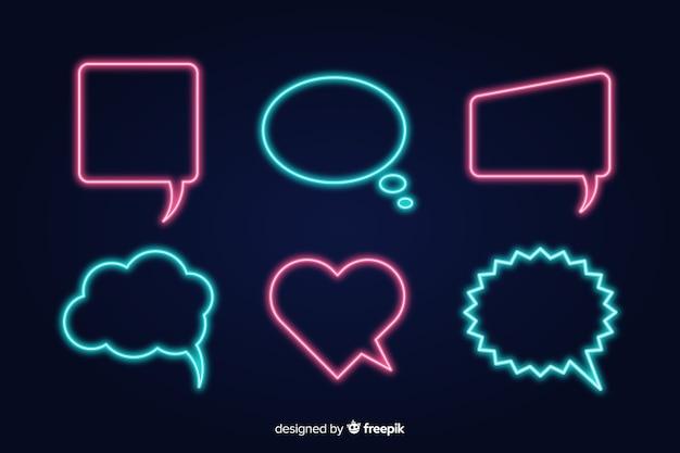 Verzameling van neon tekstballonnen