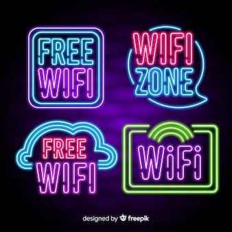 Verzameling van neon wifi borden