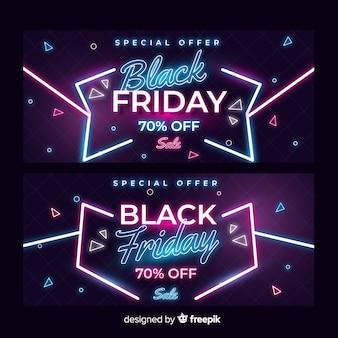 Verzameling van neon zwarte vrijdag banners