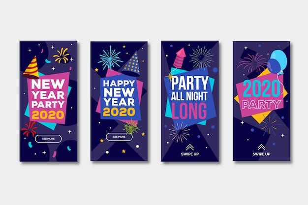 Verzameling van nieuw jaar 2020 party instagram-verhaal