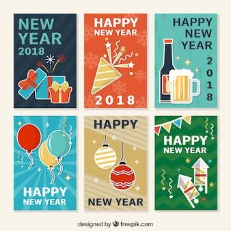Verzameling van nieuwe jaar ansichtkaarten