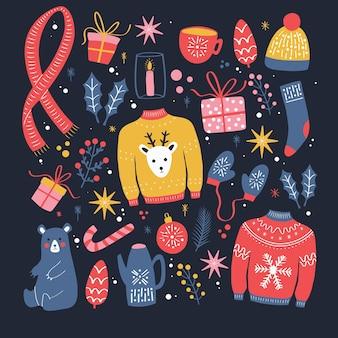 Verzameling van nieuwe jaar- en kerstelementen. traditionele wintervakantie decoratie, kleding, geschenken en dieren, geïsoleerd. kleurrijke illustratie