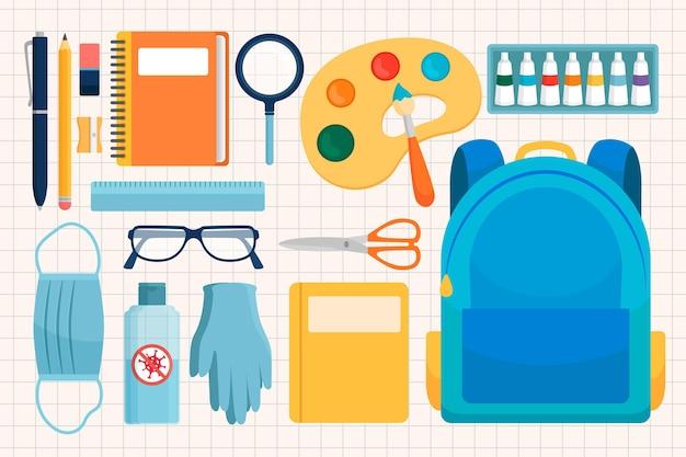 Verzameling van nieuwe normale schoolbenodigdheden