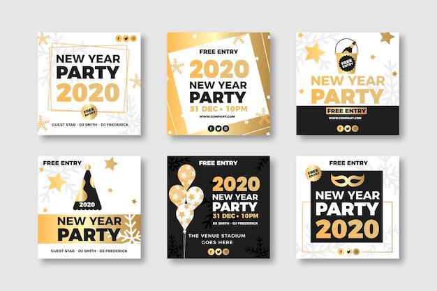 Verzameling van nieuwjaar 2020 party instagram-bericht