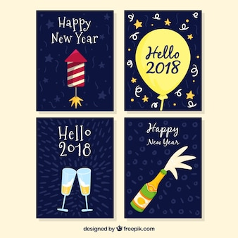 Verzameling van nieuwjaar hand getrokken ansichtkaarten