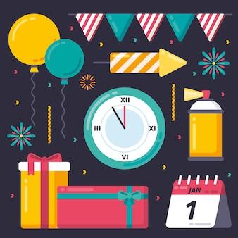 Verzameling van nieuwjaar partij element in plat ontwerp