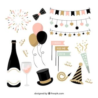 Verzameling van nieuwjaar viering element
