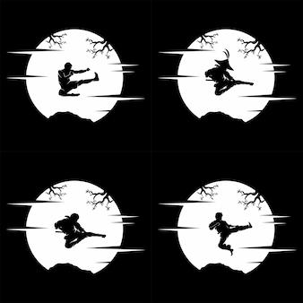 Verzameling van ninja silhouet