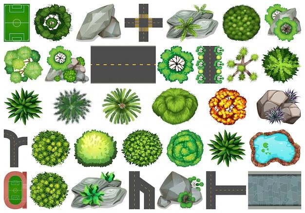 Verzameling van objecten van de buiten de natuur thema en plantaardige elementen