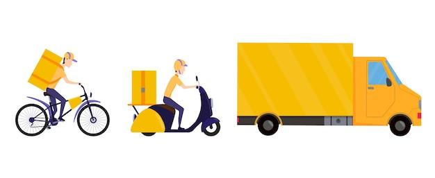 Verzameling van online bezorgserviceconcepten. levering aan huis of kantoor. online bestelling en concept voor snelle levering van eten of producten. blijf thuis concept. snelle en gratis bezorging.