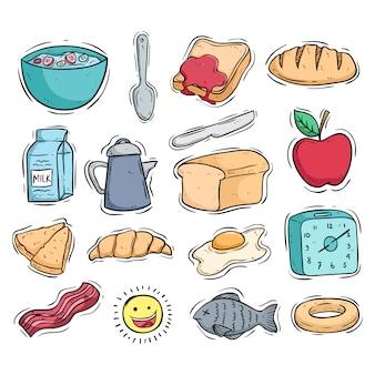 Verzameling van ontbijt eten pictogrammen met gekleurde doodle stijl