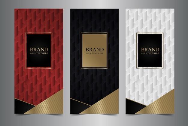Verzameling van ontwerpelementen, etiketten, pictogram, frames, textuur voor verpakking.