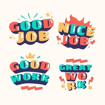 Verzameling van organische platte motiverende geweldige jobstickers