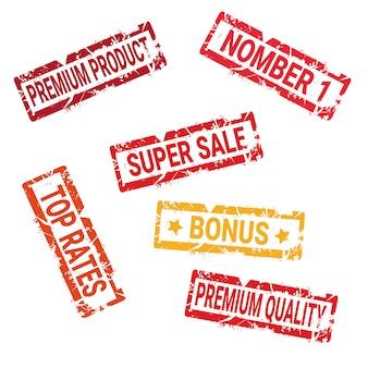 Verzameling van oude inkt stickers veilige deal hoge kwaliteit en winkelen korting geïsoleerde zegels collectie