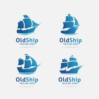 Verzameling van oude scheepslogo ontwerp