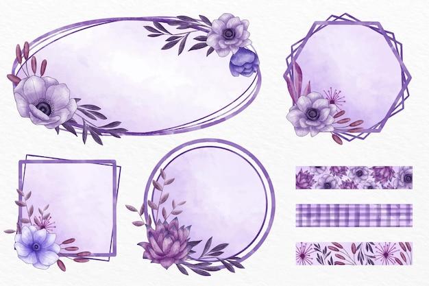 Verzameling van paarse bloemenframes en patronen