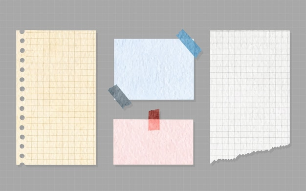 Verzameling van papieren notities op stickers, notitieblokken en memoberichten, gescheurde vellen papier