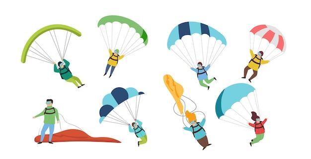 Verzameling van parachutisten en parachutisten geïsoleerd