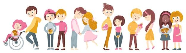 Verzameling van paren kinderpersonages.