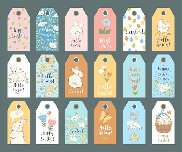 Verzameling van pasen-tags met konijnen en kippen.