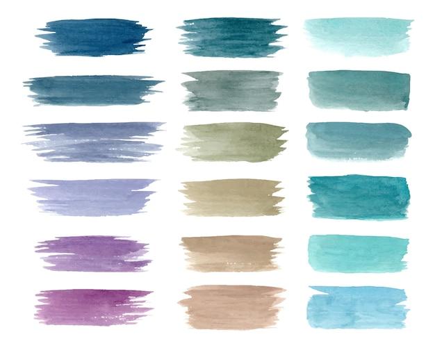 Verzameling van pastel penseelstreken met waterverf