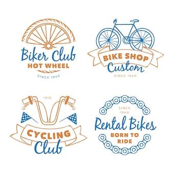 Verzameling van pastelkleurige fiets vintage logo