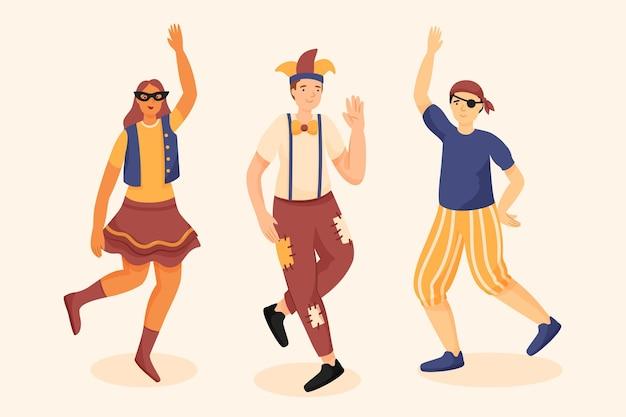 Verzameling van personages die carnavalskostuums dragen