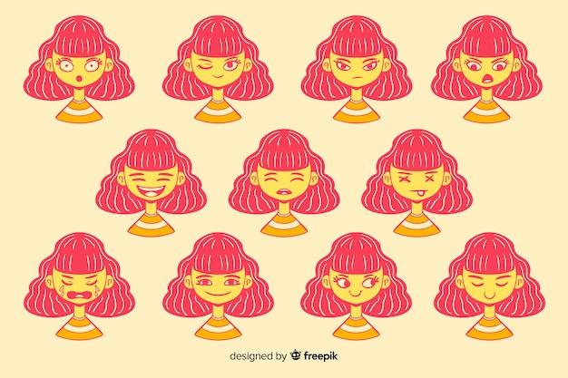 Verzameling van personages met verschillende gezichtsuitdrukkingen