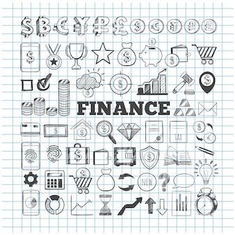 Verzameling van pictogrammen voor bedrijfsleven en financiën