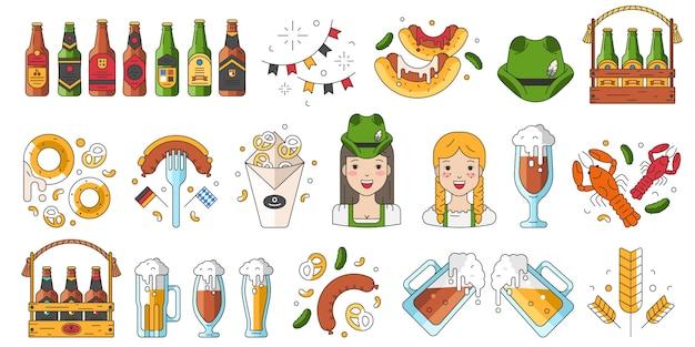 Verzameling van pictogrammen voor de meest oktoberfest viering