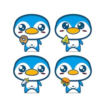 Verzameling van pinguïnsets met voedsel vectorillustratie van een mascotte met een platte stripfiguur