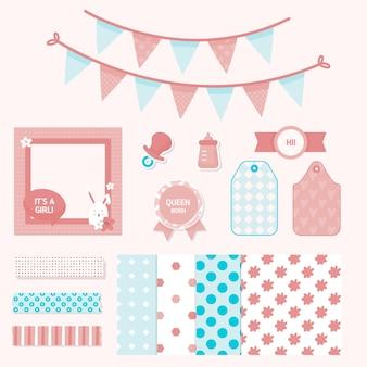 Verzameling van plakboekelementen voor babydouche