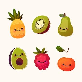 Verzameling van plat heerlijk fruit