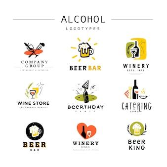 Verzameling van platte alcoholische dranken logo set