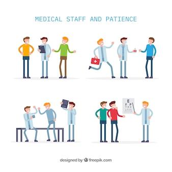 Verzameling van platte artsen met patiënten