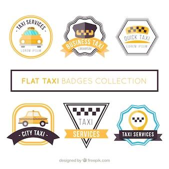 Verzameling van platte badges voor taxidiensten