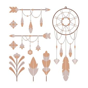 Verzameling van platte boho-elementen