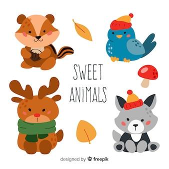 Verzameling van platte bos dieren