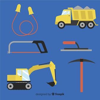 Verzameling van platte bouwgereedschappen