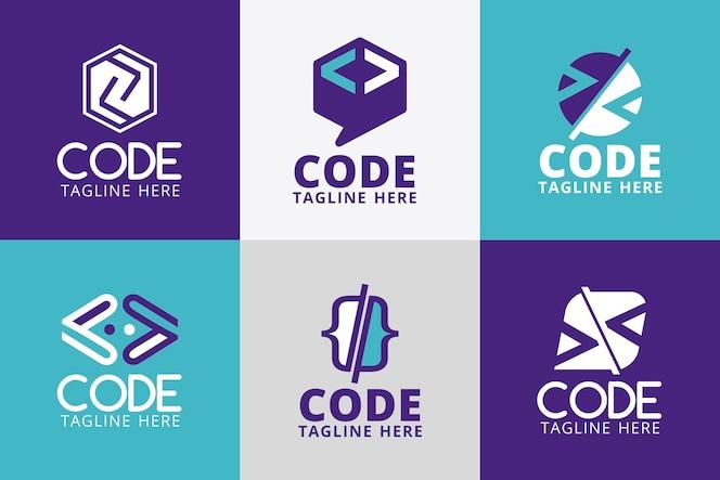 Verzameling van platte code logo's