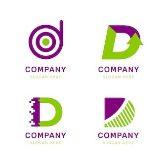 Verzameling van platte d-logo-sjablonen