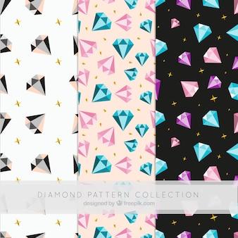 Verzameling van platte diamant patronen