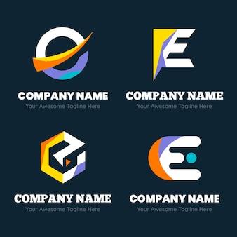 Verzameling van platte e-logo sjablonen