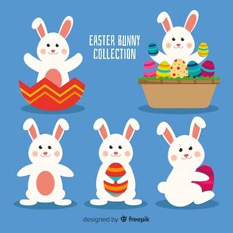 Verzameling van platte easter konijnen