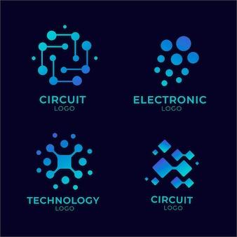 Verzameling van platte elektronica-logo's