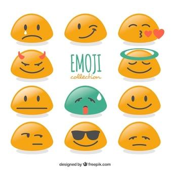 Verzameling van platte emoticons met abstracte vorm