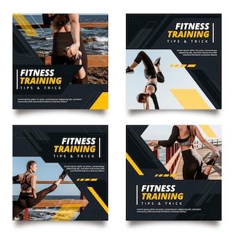Verzameling van platte fitness instagram-berichten